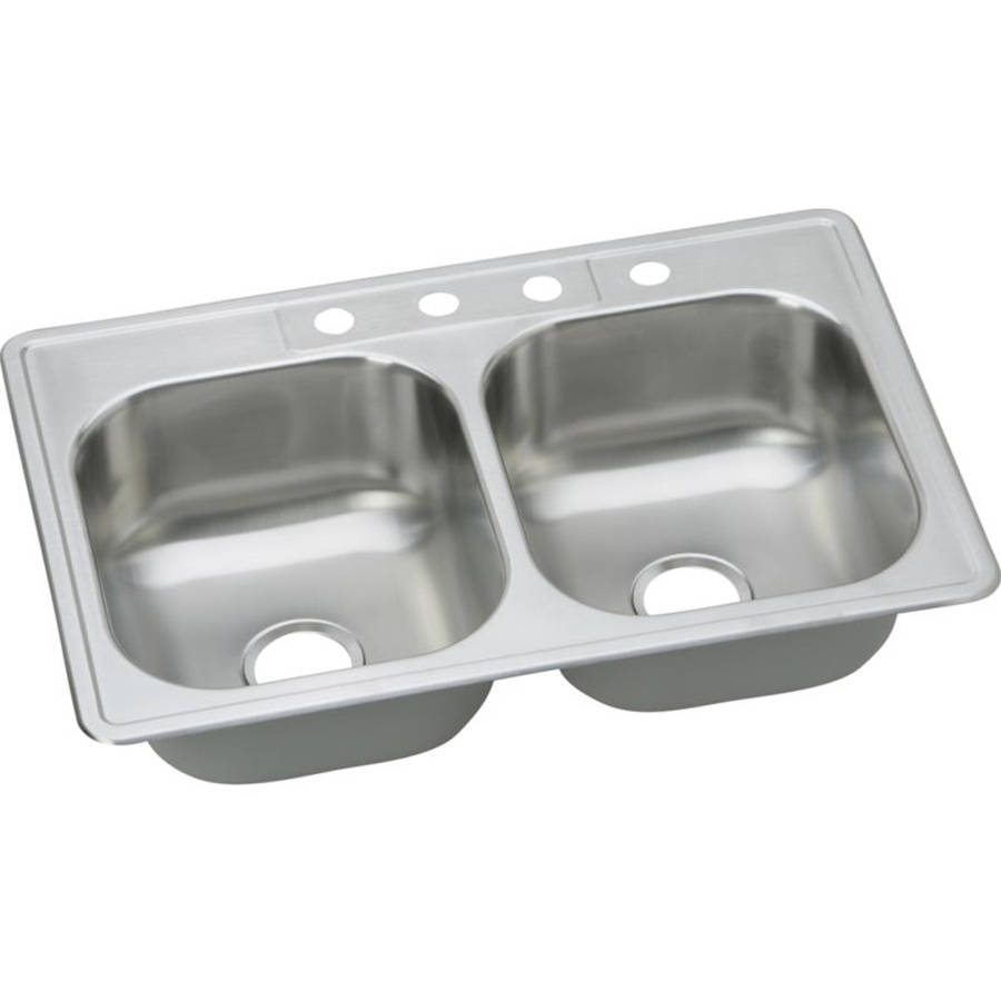 ELKAY DAYTON KITCHEN SINK, STAINLESS STEEL, 4 HOLE, 20 GAUGE, 33 IN. X 22 IN. X 8 IN.