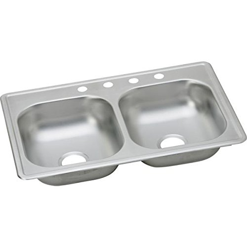 ELKAY KINGSFORD MOBILE HOME KITCHEN SINK, STAINLESS STEEL, 3 HOLE, 23 GAUGE, 33 IN. X 19 IN. X 6 IN.