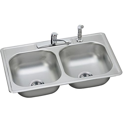 ELKAY DAYTON� DOUBLE BOWL KITCHEN SINK KIT, SATIN STAINLESS STEEL, 4 HOLE, 22 GAUGE, 33 IN. L X 22 IN. W X 7-1/16 IN. H