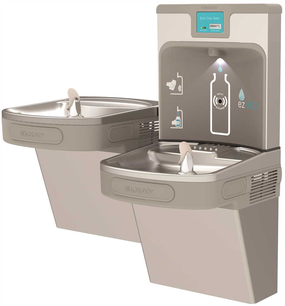 ELKAY FILTERED ENHANCED EZH20� BOTTLE FILLING STATION WITH BI-LEVEL ADA COOLER, LIGHT GRAY
