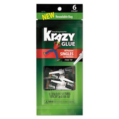 All-Purpose Super Glue Single-Use Tubes, 0.017 oz, Clear, 6/PK
