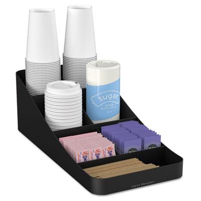 Trove Seven-Compartment Coffee Condiment Organizer, Black, 7 3/4 x 16 x 5 1/4