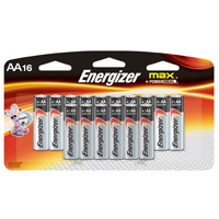 Energizer E91LP-16 Non-Rechargeable Alkaline Battery, 1.5 V, AA, Zinc Manganese Dioxide