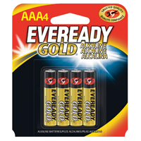 Eveready Gold A92 Alkaline Battery, 1.5 V, AAA, Zinc Manganese Dioxide