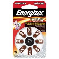 Energizer AZ312DP-8 Battery, 1.4 V, Zinc Peroxide