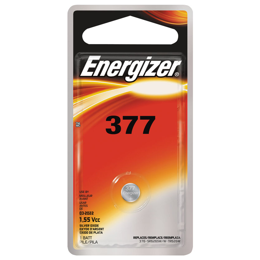 Zero-Mercury 377BPZ Non-Rechargeable Battery, 1.55 V, 377, Silver Oxide