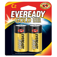 Eveready Gold A93BP-2 General Purpose Alkaline Battery, 1.5 V, C, Zinc Manganese Dioxide