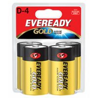 Eveready Gold A95BP-4 Alkaline Battery, 1.5 V, D, Zinc Manganese Dioxide