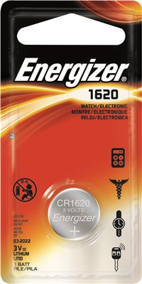 ENERGIZER� CR1620 LITHIUM COIN CELL BATTERY, 3 VOLTS