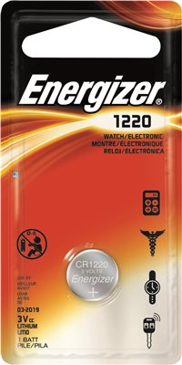 ENERGIZER� CR1220 LITHIUM COIN CELL BATTERY, 3 VOLTS