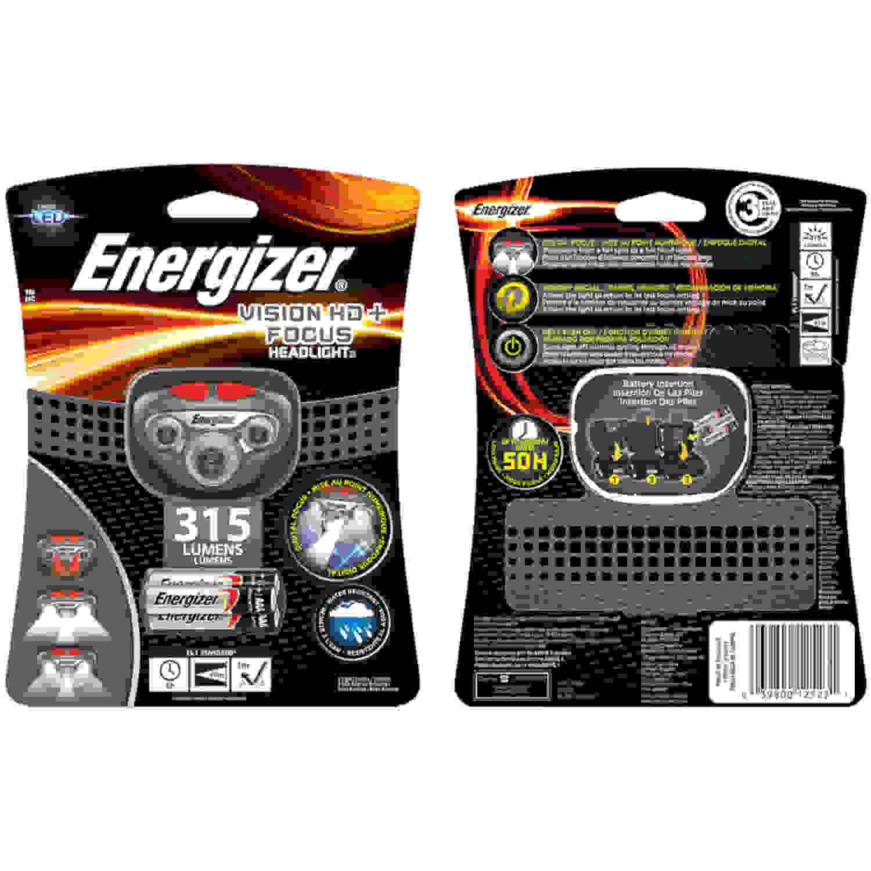 Energizer Vision Hd+ Focus Headlamp, Grey/Re