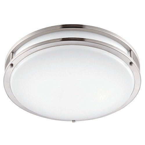 ENVIROLITE� LED LOW PROFILE CEILING FIXTURE, BRUSHED NICKEL, 12 IN., INTEGRATED LED INCLUDED