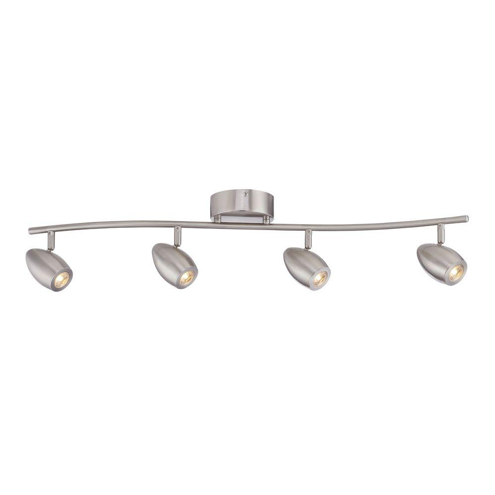 ENVIROLITE� 4-LIGHT LED TRACK FIXTURE, 3 FT., CURVED BAR, BRUSHED NICKEL, DIMMABLE, INTEGRATED LED INCLUDED