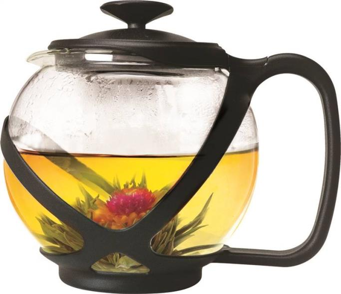 Primula PTA-2340 Round Tea Pot, 40 oz Capacity, 16 in L x 12 in W x 7 in H, Borosilicate Glass