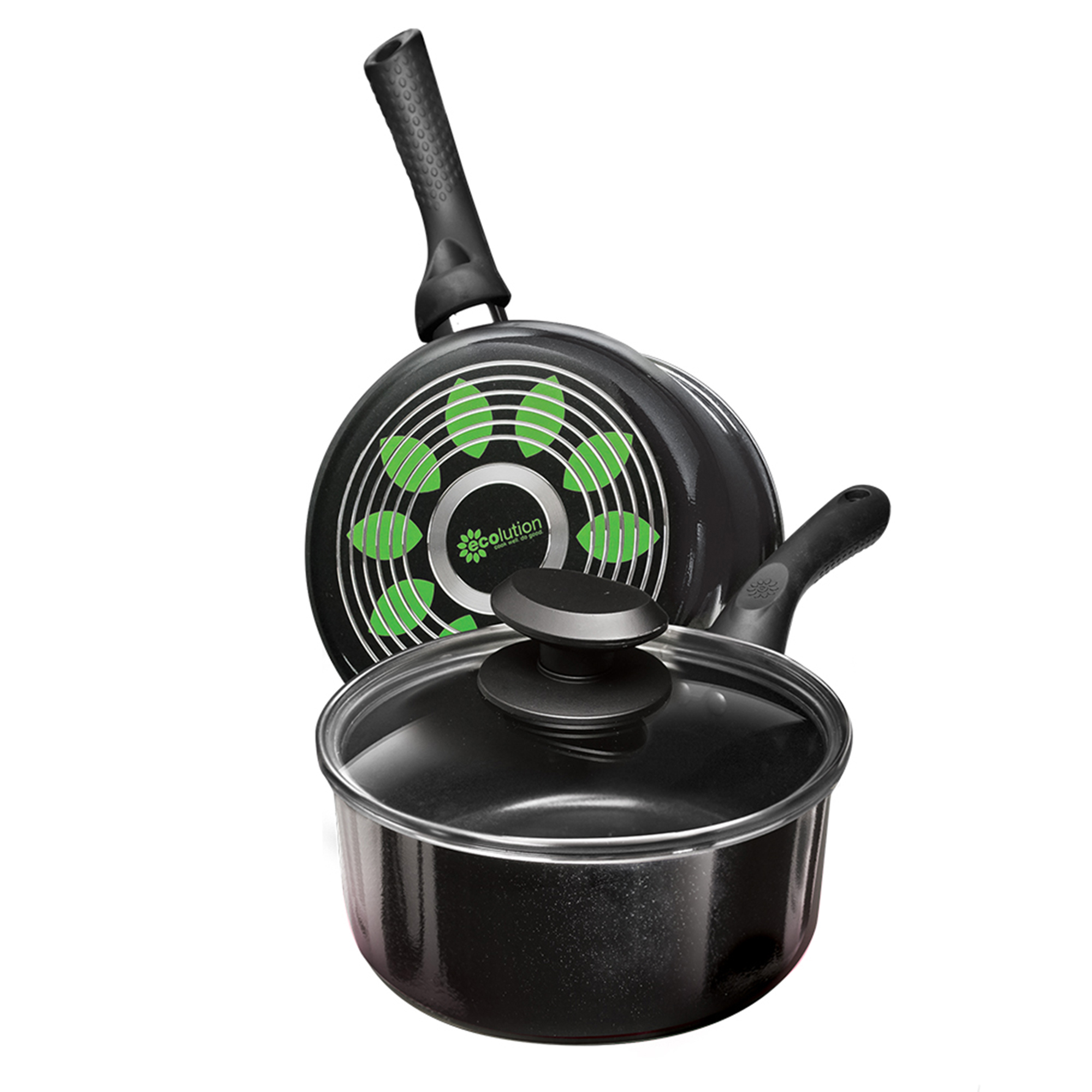 ECOLUTION EABK2818 BLACK ARTISTRY SAUCEPAN 2 QT WITH LID