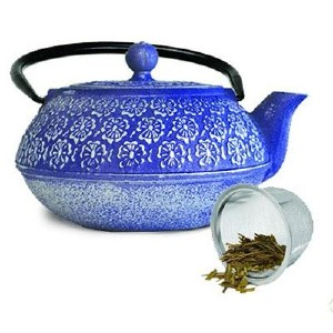 PRIMULA  PCI4340 BLUE CAST IRON TEAPOT 40 OZ  WITH STAINLESS