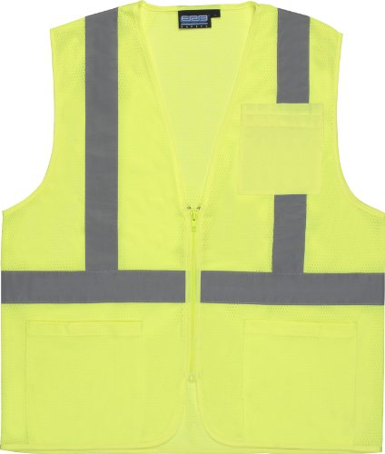 S362 CLASS 2 ECONOMY MESH ZIPPERED SAFETY VEST, LIME X-LARGE