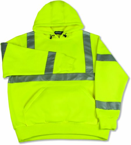 S376 CLASS 3 HOODED PULLOVER SWEATSHIRT, LIME X-LARGE
