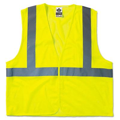 GloWear 8210HL Class 2 Economy Vest, Polyester Mesh, Hook Closure, Lime, L/XL