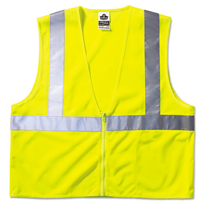 GloWear 8210Z Class 2 Economy Vest, Polyester Mesh, Large/X-Large, Yellow