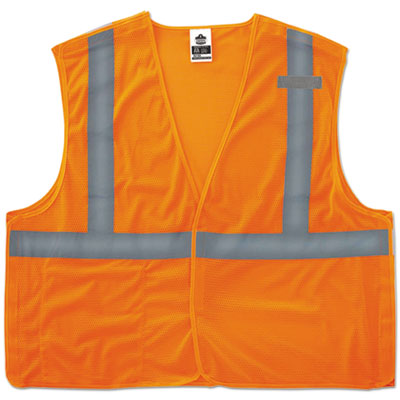 GloWear 8215BA Type R Class 2 Econo Breakaway Mesh Vest, Orange, L/XL