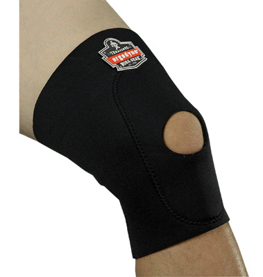 Ergodyne Large Black ProFlex� 615 Neoprene Ambidextrous Single Layer Knee Sleeve With Hook And Loop Closure, Anterior Pad And Op