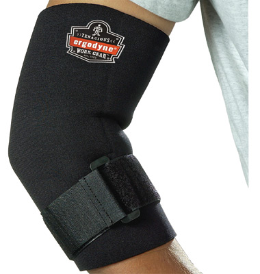 Ergodyne Large Black ProFlex� 655 Neoprene Ambidextrous Elbow Sleeve With Hook And Loop Closure And Adjustable Cinch Strap