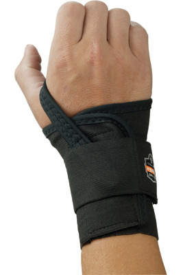 Ergodyne Large Black ProFlex� 4000 Elastic Single Strap Left Hand Wrist Support With Two-Stage Hook And Loop Closure And Open-Ce