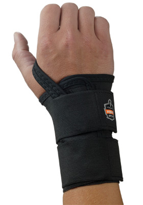 Ergodyne Large Black ProFlex� 4010 Elastic Double Strap Left Hand Wrist Support With Two-Stage Hook And Loop Closure And Open-Ce