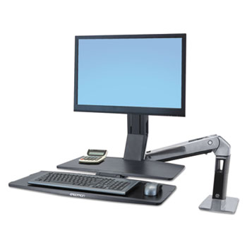 WorkFit-A Sit-Stand Workstation w/Worksurface+, LCD HD Monitor, Aluminum/Black