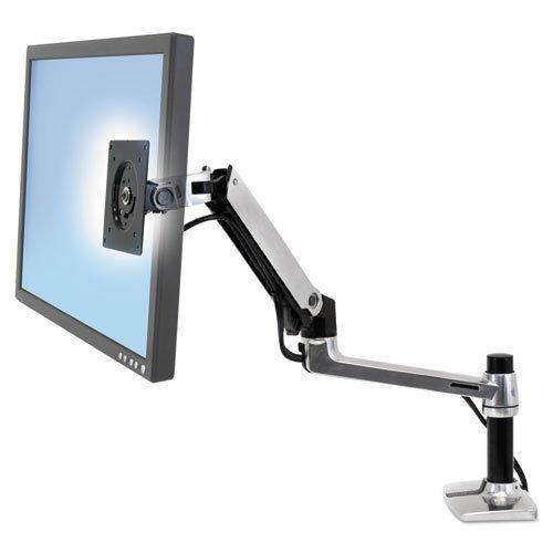 LX Series LCD Arm, Desk Mount, Polished Aluminum/Black