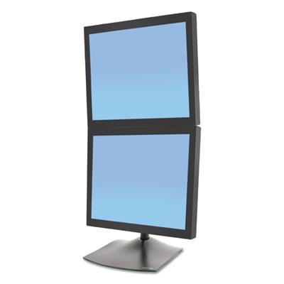 DS100 Vertical Dual-Monitor Desk Stand, 12w x 12.38d x 28.25h, Black