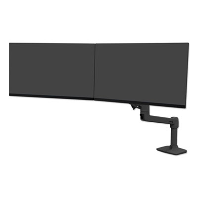"""Ergotron LX Dual Direct Monitor Arm for Monitors up to 25"""", 33.5w x 33.5d x 21h, Matte Black"""
