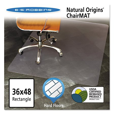 Natural Origins Chair Mat For Hard Floors, 36 x 48, Clear