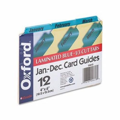 Laminated Tab Index Card Guides, Monthly, 1/3 Tab, Manila, 4 x 6, 12/Set