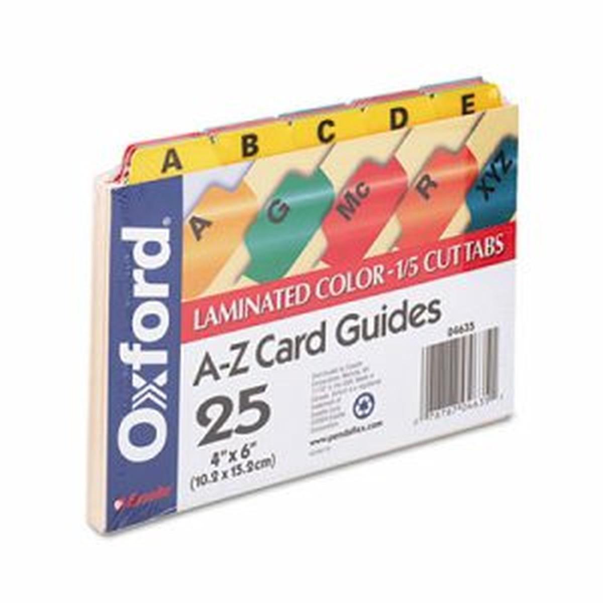 Laminated Tab Index Card Guides, Alpha, 1/5 Tab, Manila, 4 x 6, 25/Set