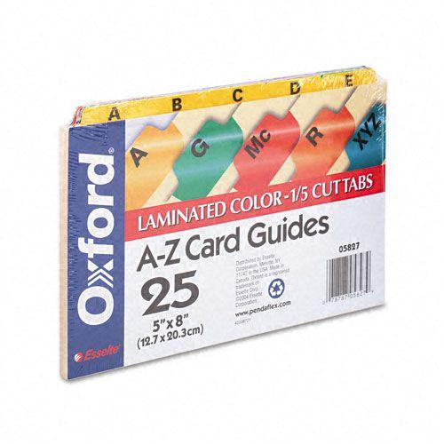 Laminated Tab Index Card Guides, Alpha, 1/5 Tab, Manila, 5 x 8, 25/Set