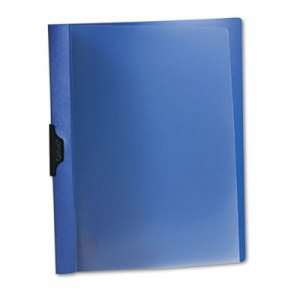 Polypropylene No-Punch Report Cover, Letter, Clip Holds 30 Pages, Clear/Blue