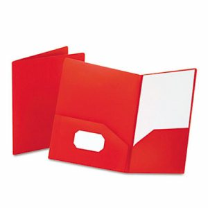 Poly Twin-Pocket Folder, Holds 100 Sheets, Opaque Red