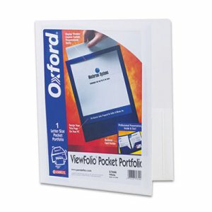 ViewFolio Polypropylene Portfolio, 50-Sheet Capacity, White/Clear