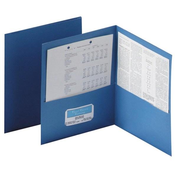 Twin-Pocket Folder, Embossed Leather Grain Paper, Blue, 25/Box