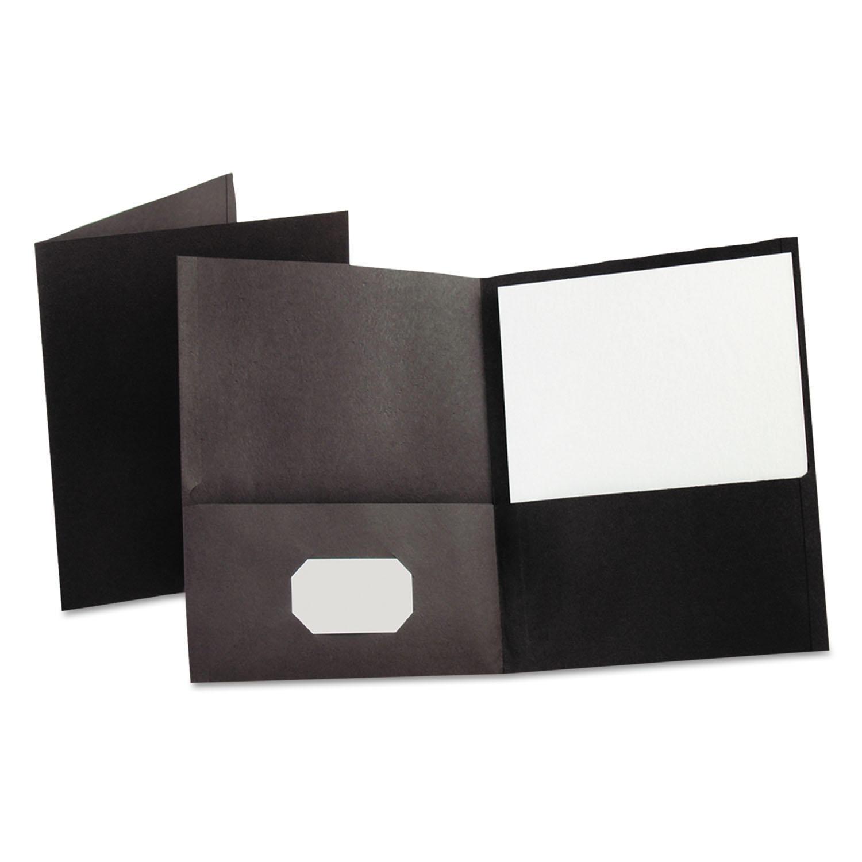 Twin-Pocket Folder, Embossed Leather Grain Paper, Black, 25/Box