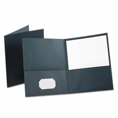 Twin-Pocket Folder, Embossed Leather Grain Paper, Dark Blue, 25/Box