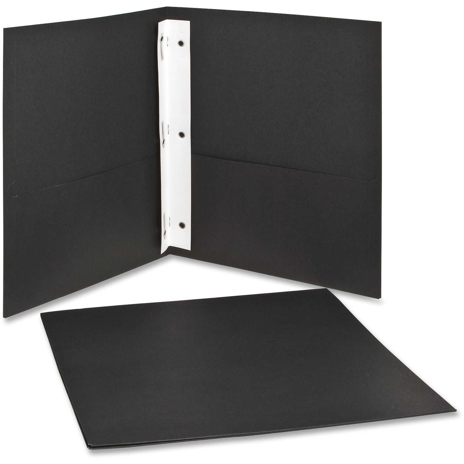"Twin-Pocket Folders with 3 Fasteners, Letter, 1/2"" Capacity, Black 25/Box"