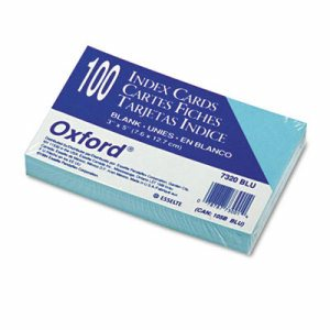 Unruled Index Cards, 3 x 5, Blue, 100/Pack