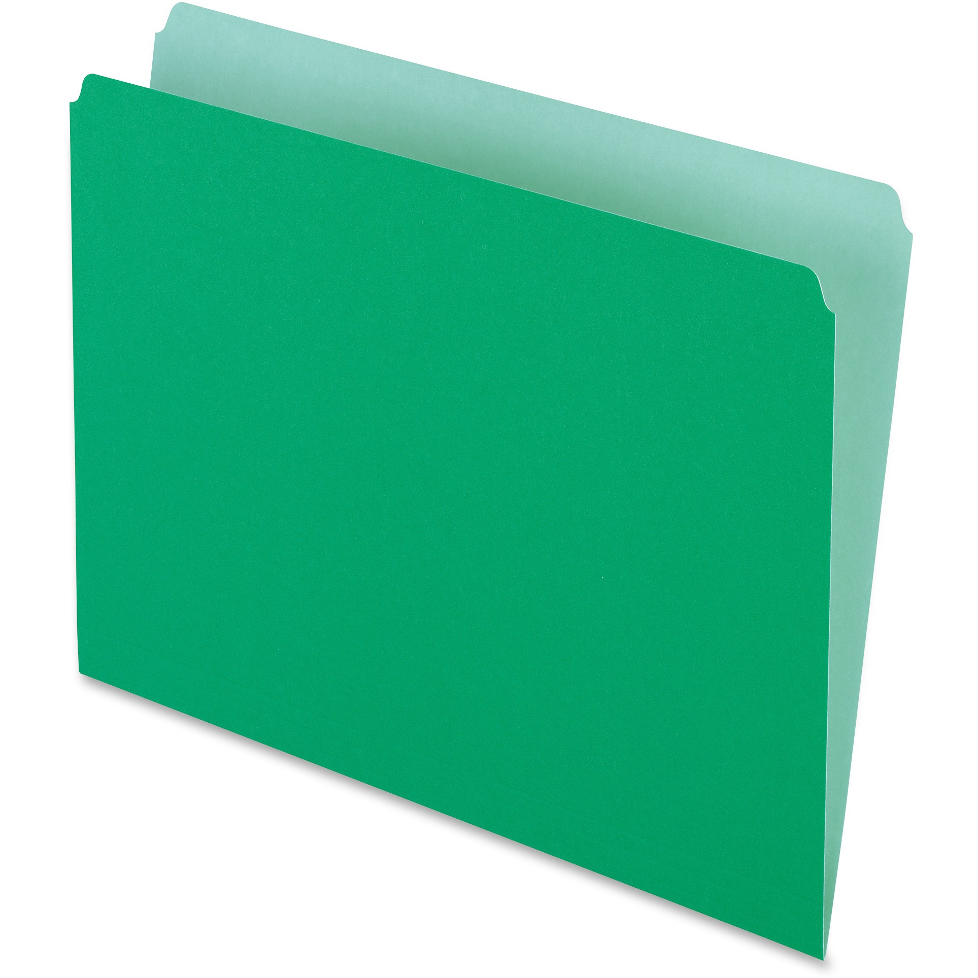 Colored File Folders, Straight Cut, Top Tab, Letter, Green/Light Green, 100/Box
