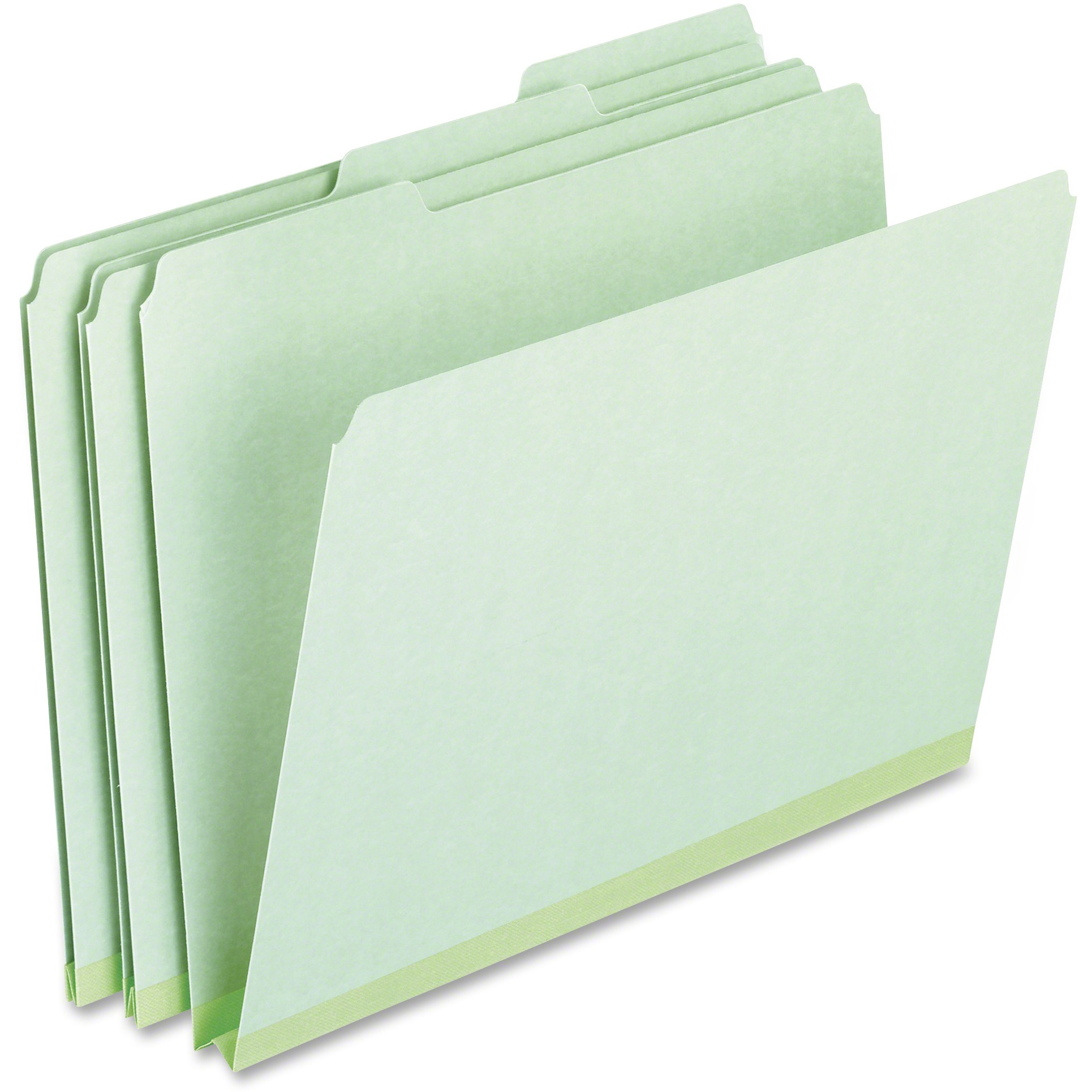 Pressboard Expanding File Folders, 1/3 Cut Top Tab, Letter, Green, 25/Box