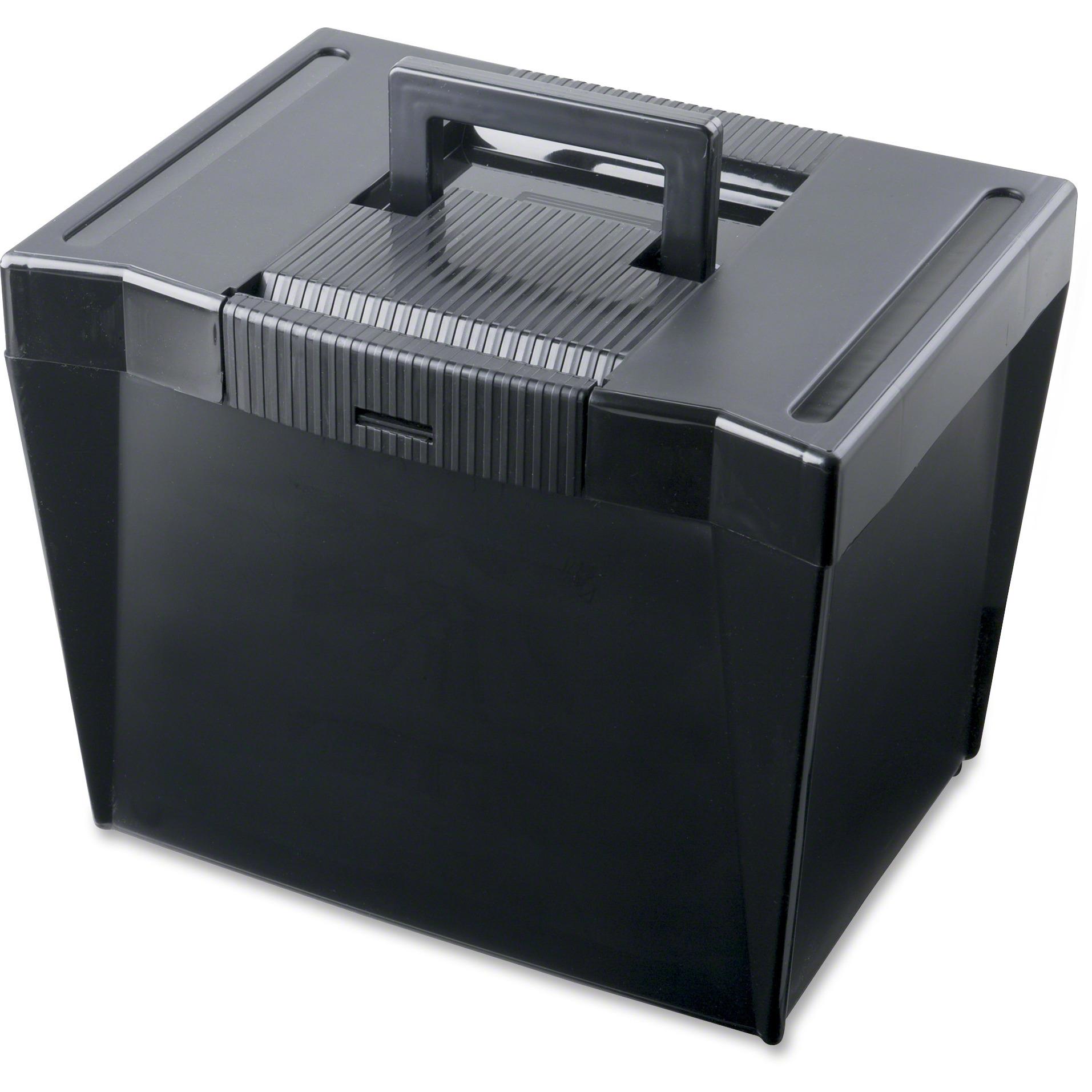 Portable File Storage Box, Letter, Plastic, 13 1/2 x 10 1/4 x 10 7/8, Black