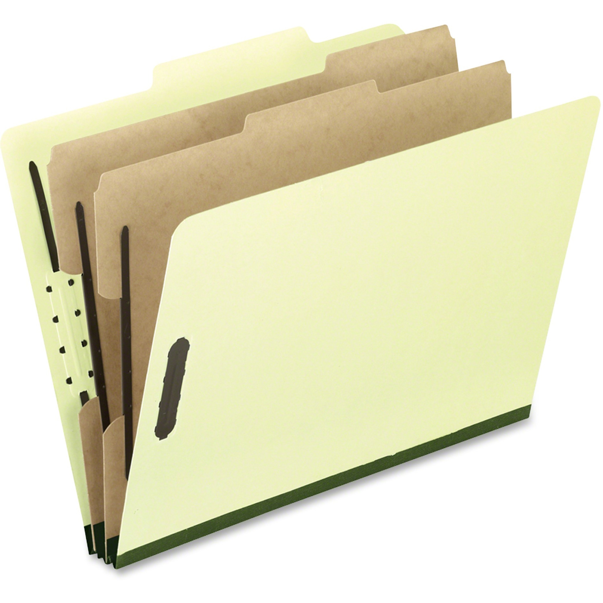 Six-Section Pressboard Folders, Legal, 2/5 Tab, Light Green, 10/Box