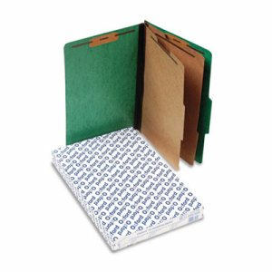 Six-Section Colored Classification Folders, Legal, 2/5 Tab, Green, 10/Box